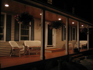 Farmer's porch lighting; recessed lights
